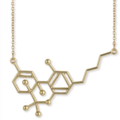 THC Weed Molecule Necklace - Gold