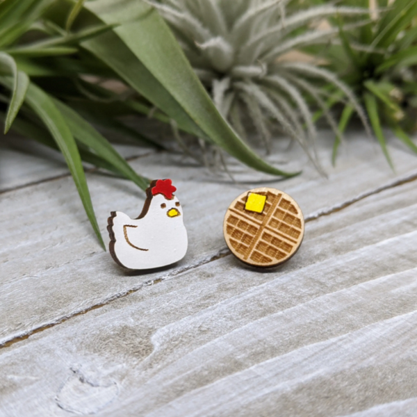 Unpossible Cuts Wood Post Earrings - Chicken And Waffles