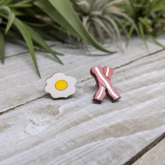 Unpossible Cuts Wood Post Earrings - Bacon And Eggs
