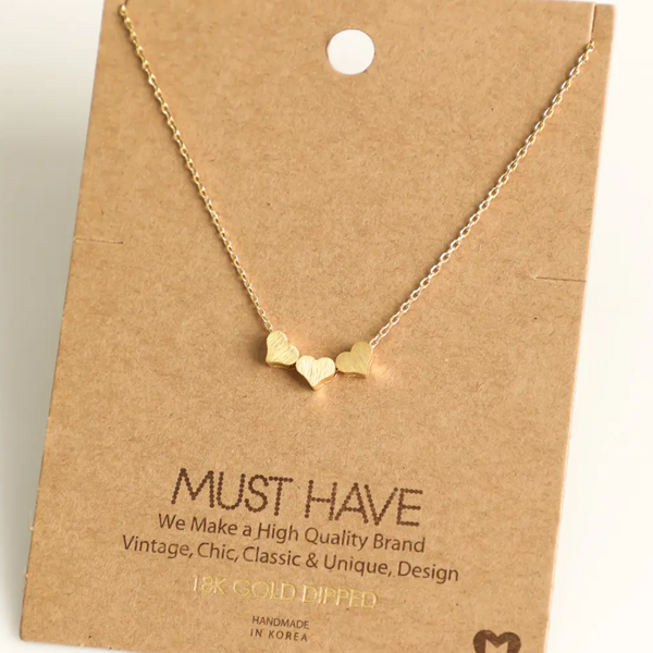 Fame Accessories 18K Gold Dipped Necklace - Three Heart