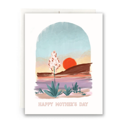 Happy Mothers Day Desert Red Sun Card