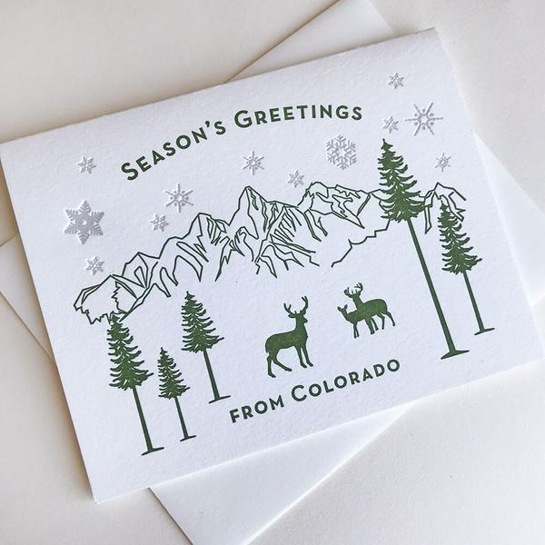 Seasons Greetings Colorado Card - Steel Petal Press