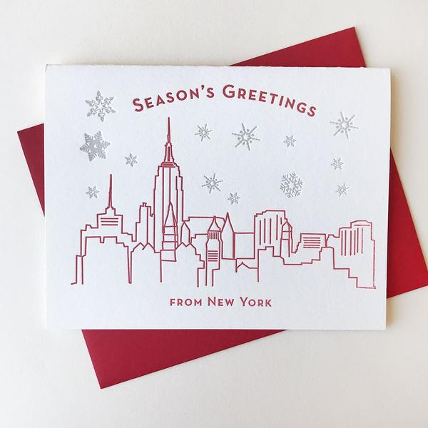 Seasons Greetings New York Card - Steel Petal Press