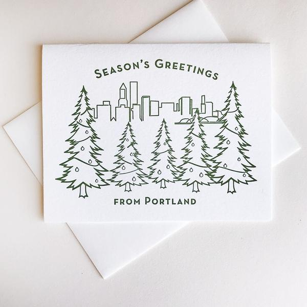Seasons Greetings Portland Card - Steel Petal Press