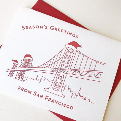 Seasons Greetings San Francisco Card - Steel Petal Press