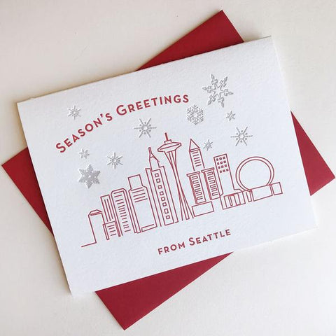Seasons Greetings Seattle Card - Steel Petal Press