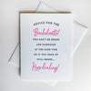 Letterpress congratulations wedding card - Bachelorette