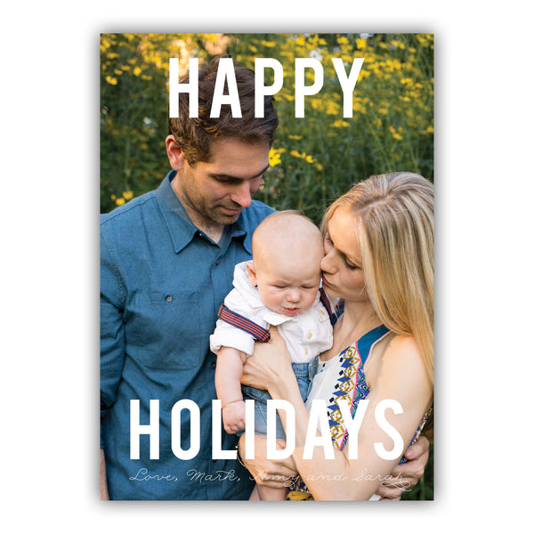 White Holiday Photo Card | Steel Petal Press