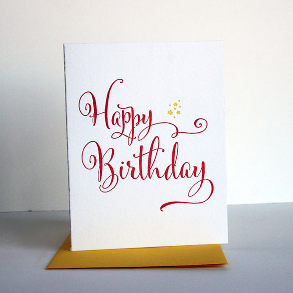 Yellow Star Birthday Card | Steel Petal Press