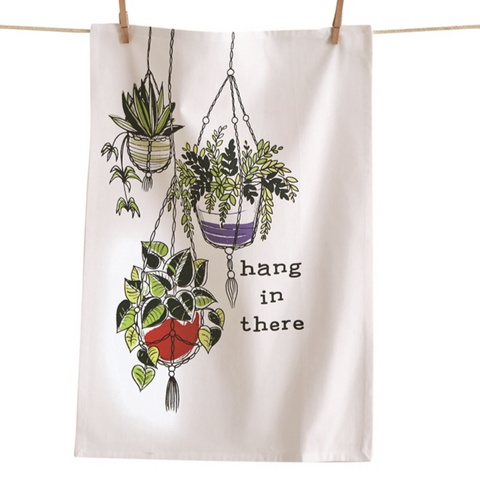 Hang In There Hanging Plant Plants Cotton Tea Towel - TAG