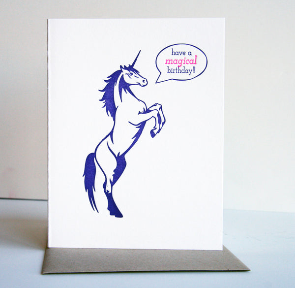 Unicorn Birthday Card | Steel Petal Press