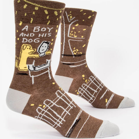 Mens Crew Socks - A Boy and His Dog - Steel Petal Press