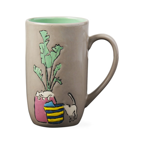 Cats With Potted Plant Tall Latte Mug - Steel Petal Press