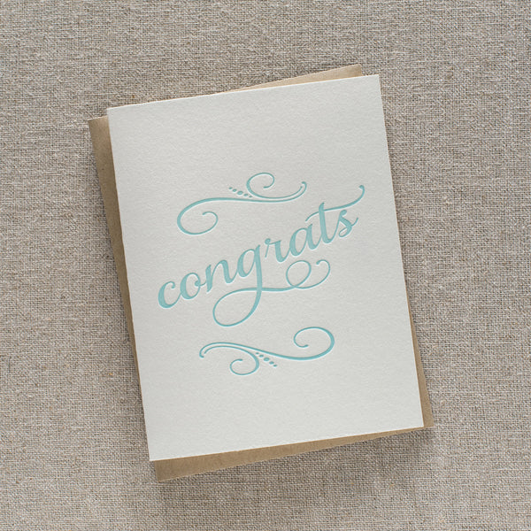 Mint Script Congrats Card | Steel Petal Press