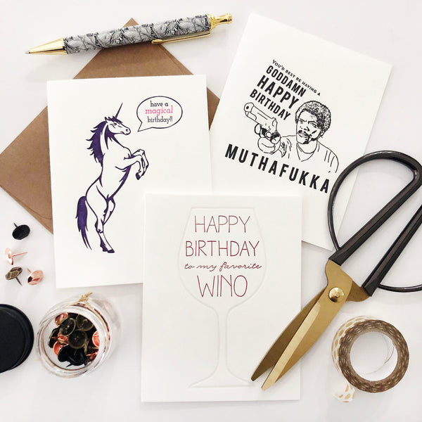 Unicorn letterpress birthday card
