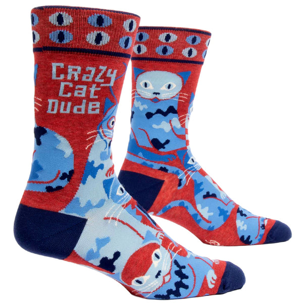 Mens Crew Socks - Crazy Cat Dude - Steel Petal Press