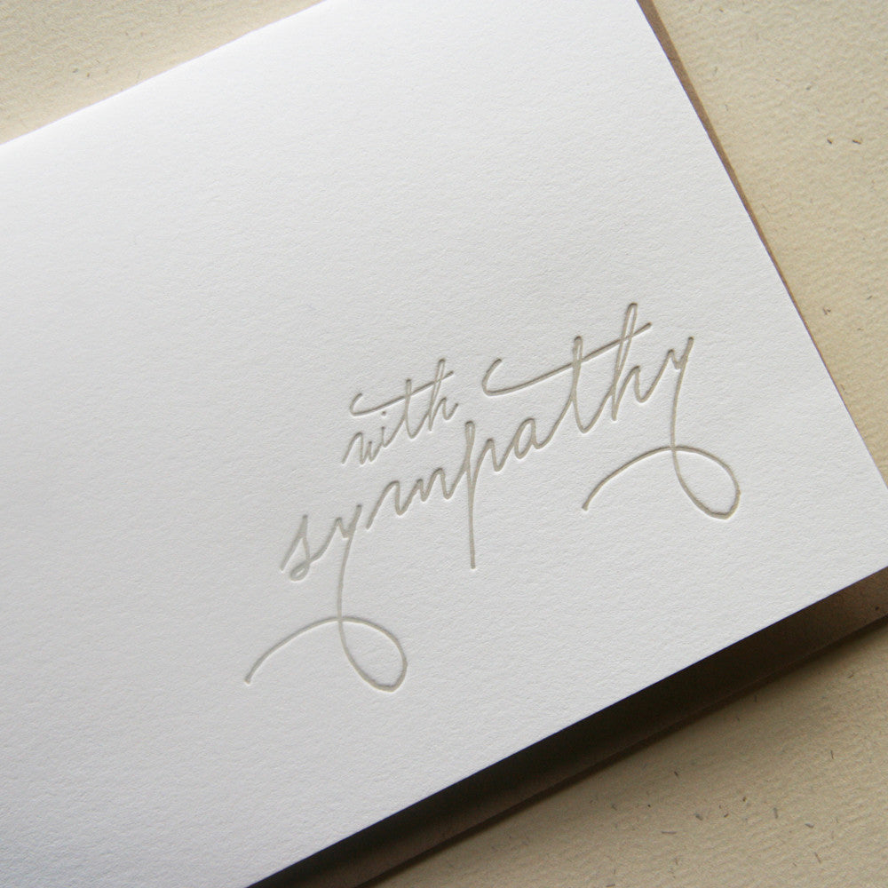 With Sympathy letterpress sympathy card