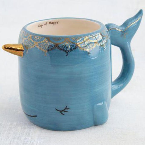 Cup Of Happy Blue Whale Narwhal Mug