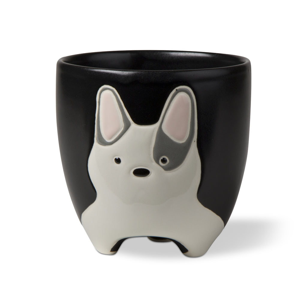 Frenchie Dog Planter With Drain Hole - Steel Petal Press