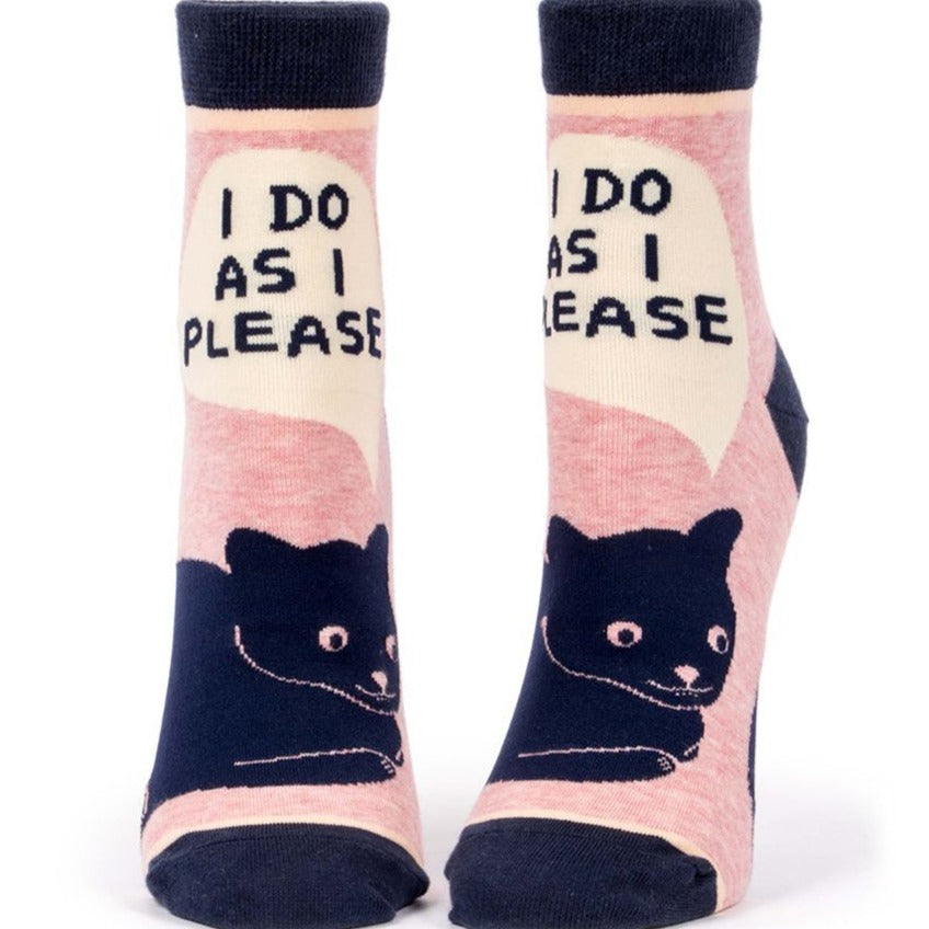 Womens Ankle Socks - I Do As I Please - Steel Petal Press
