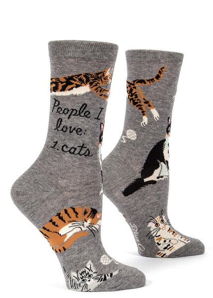 Womens Crew Socks - People I Love Cats - Steel Petal Press