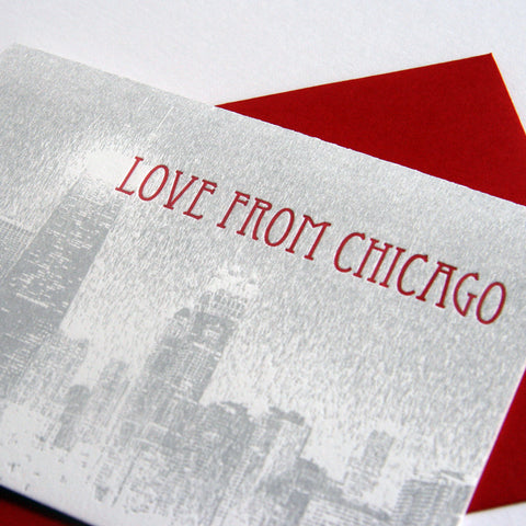 Love from Chicago Skyline Card - Steel Petal Press
