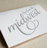 Love from the Midwest letterpress greeting card