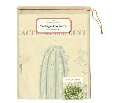 Tea Towel: Succulents Vintage Tea Towel - Steel Petal Press