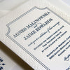 Navy Arabeque Letterpress Wedding Invitation