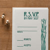 Emerald Summer Letterpress Wedding Invitation