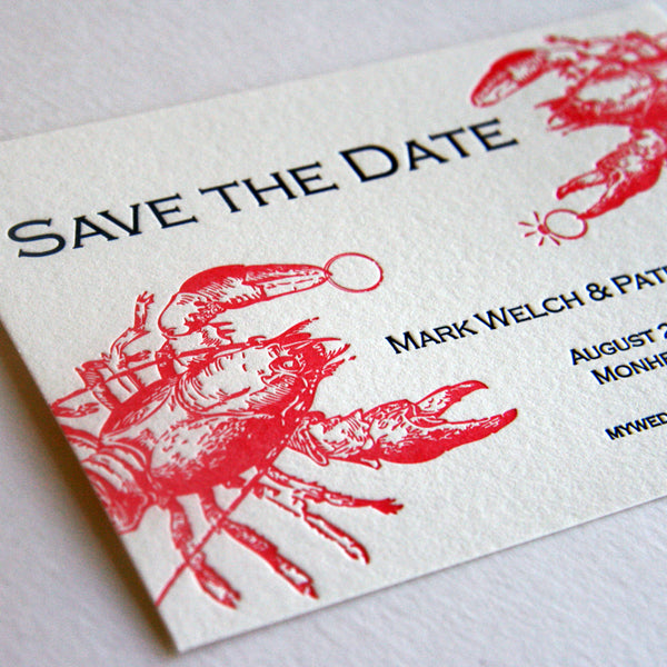 Lobster Save the Date | Steel Petal Press
