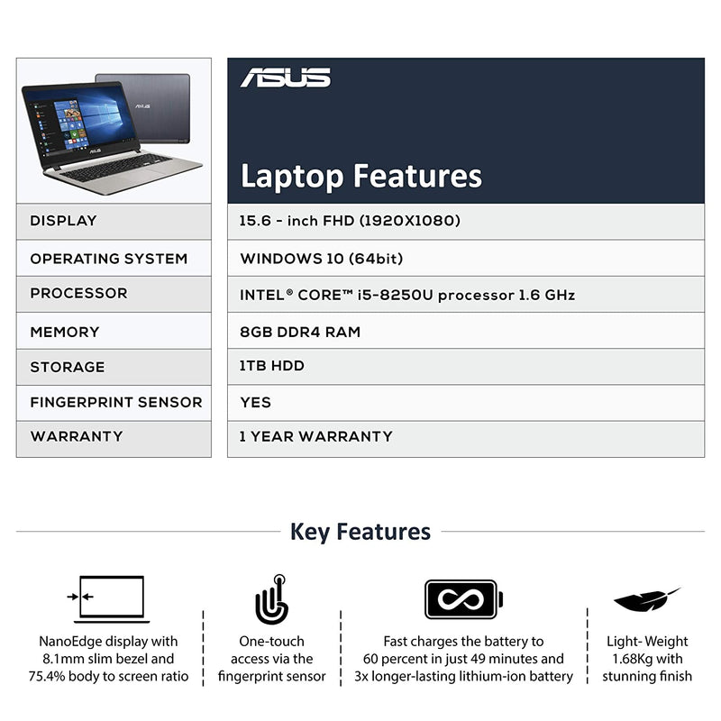 Asus Core i5 8th Gen - (8 GB/1 TB HDD/Windows 10 Home) X507UA-EJ562T Laptop  (15.6 inch, Grey, 2.56 kg) - DefenceElectronics