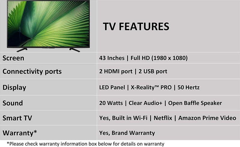 Sony 108cm (43 inch) Full HD LED Smart TV  (KDL-43W6600) - DefenceElectronics