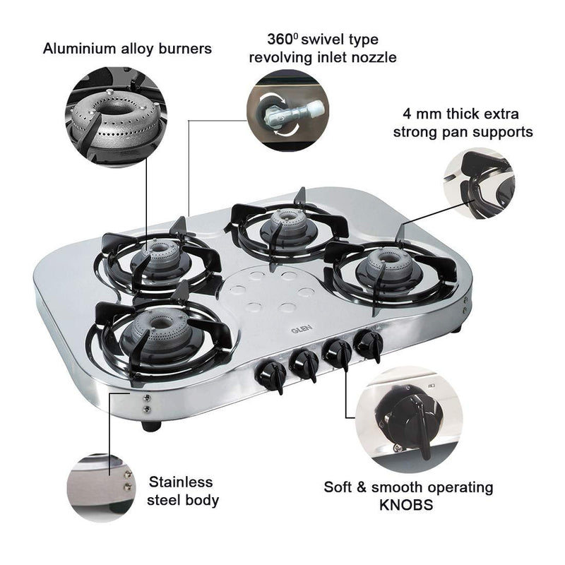 Glen 4 Burner Stainless Steel Gas Stove 1045 High Flame - DefenceElectronics