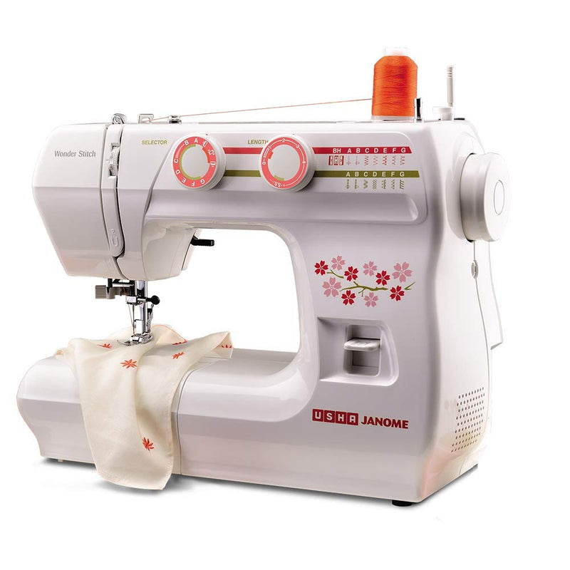 Usha Wonder Stitch Plastic Electric Sewing Machine with Hard Cover (Multicolour)
