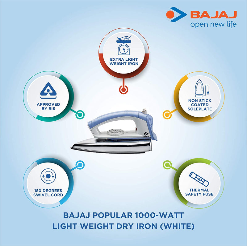 Bajaj Popular 1000-Watt Light Weight Dry Iron (White) - DefenceElectronics