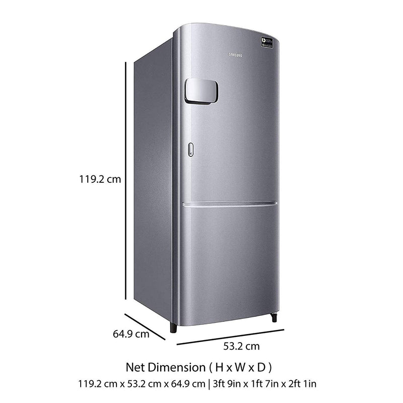 Samsung 192 L 3 Star Direct Cool Single Door Inverter Refrigerator (RR20N1Y2ZS8 , Inox)