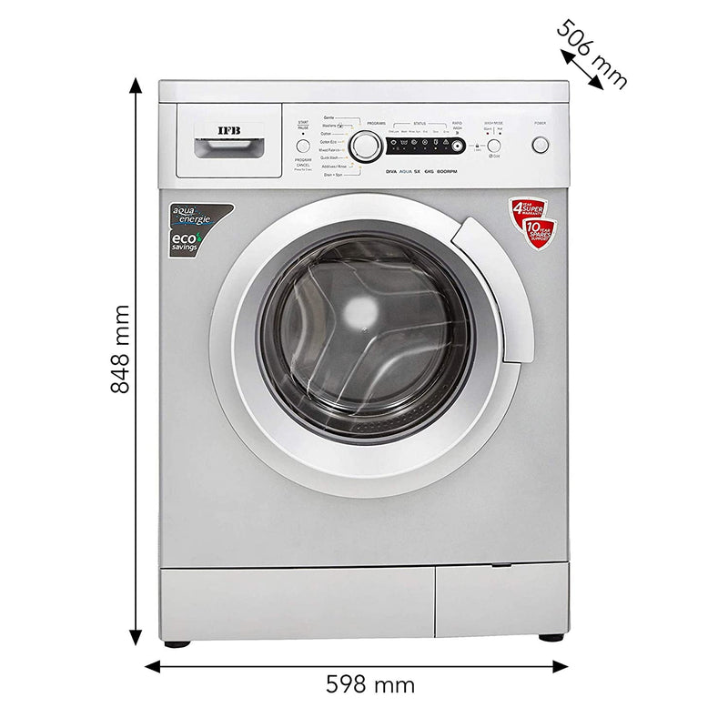 IFB 6 kg Fully-Automatic Front Loading Washing Machine (Diva Aqua SX, Silver, Inbuilt Heater, Aqua Energie water softener) - DefenceElectronics