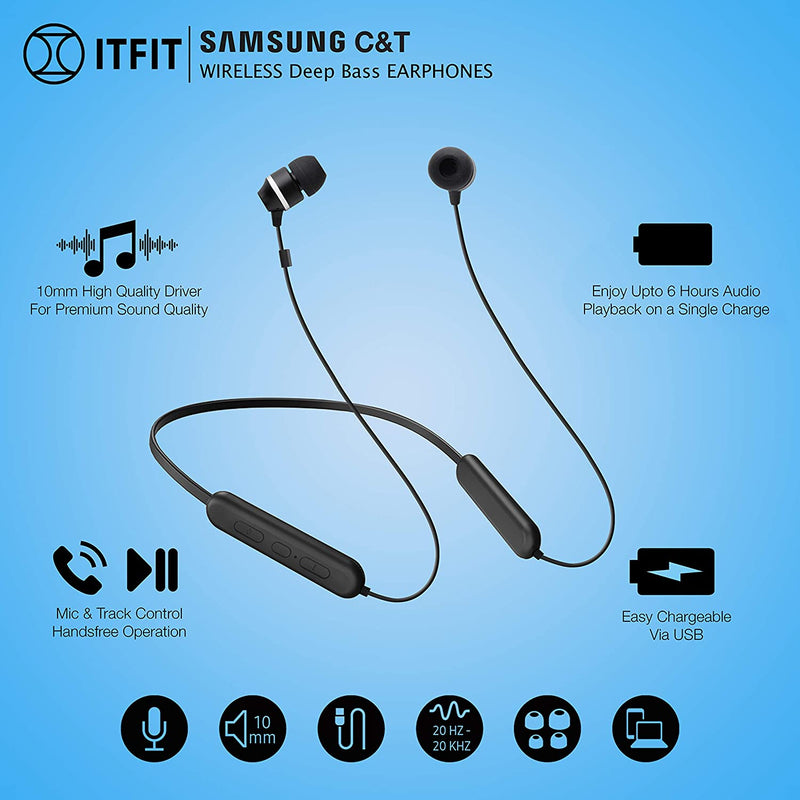 Samsung C&T ITFIT A08B GP-OAU019SABBI Flexible Neck Band and Handsfree Bluetooth Headset