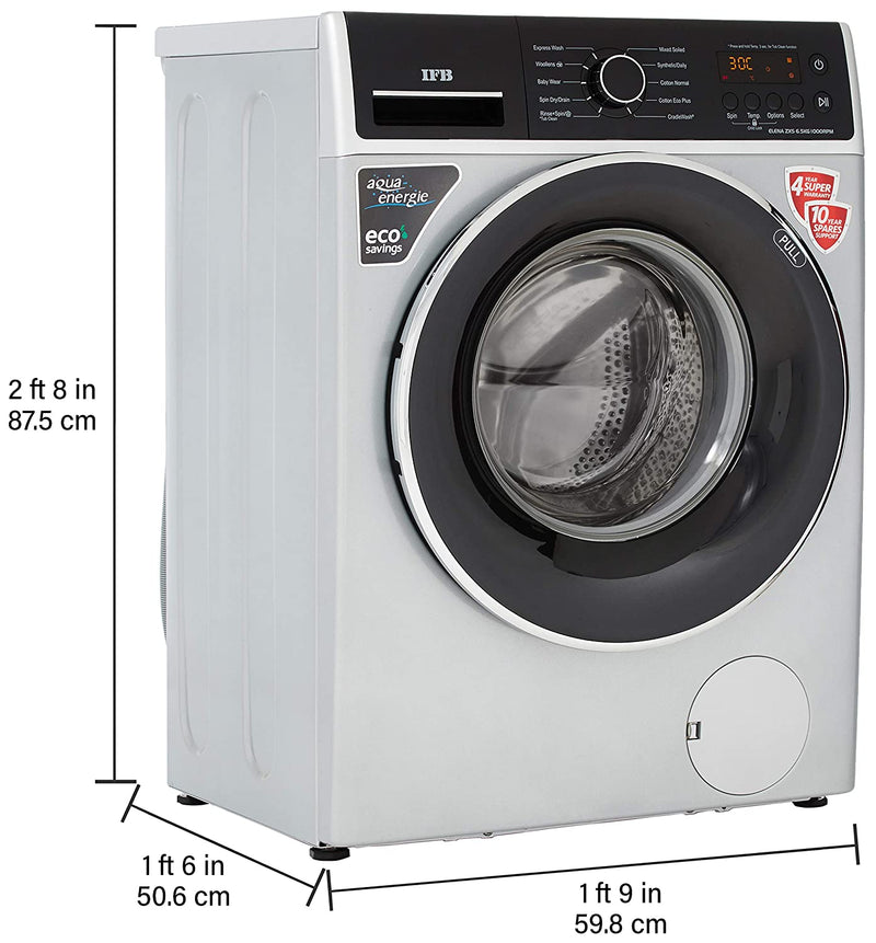 IFB 6.5 Kg Fully-Automatic Front Loading Washing Machine (ELENA ZXS, Silver) - DefenceElectronics