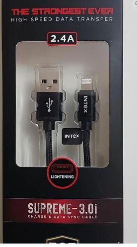 INTEX LIGHTENING SUPREME-3.0i 2.4A CHARGE & DATA SYNC CABLE - DefenceElectronics