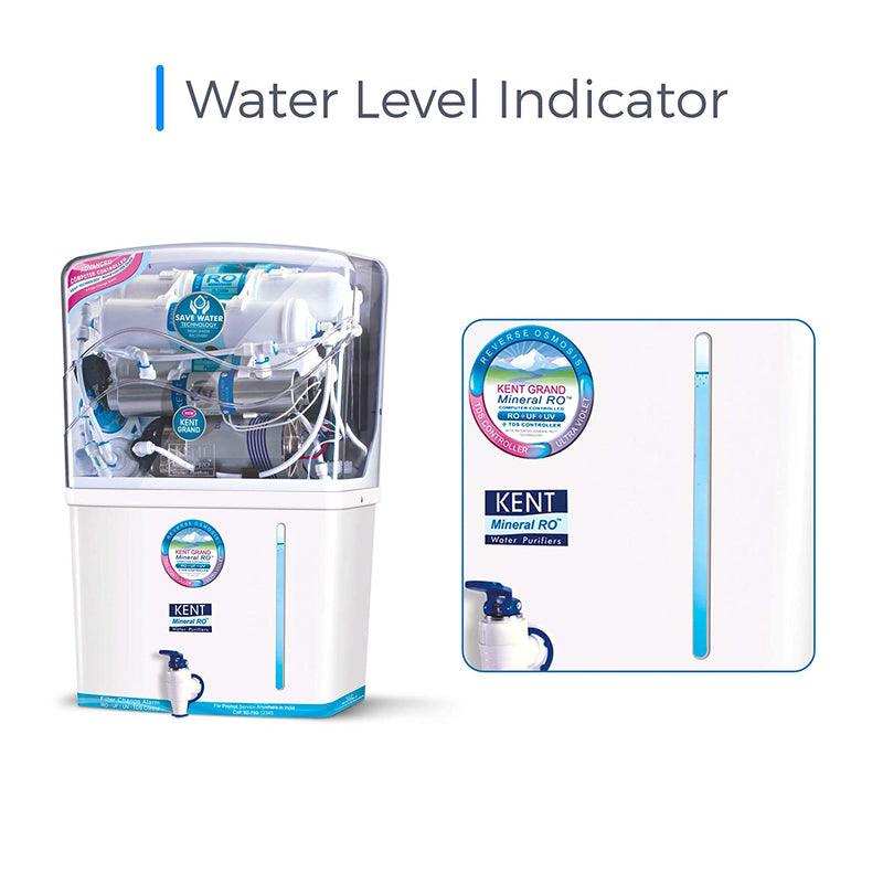 KENT New Grand 8-Litres Wall-Mountable RO + UV+ UF + TDS (White) 20 litre/hr Water Purifier(11076) - DefenceElectronics