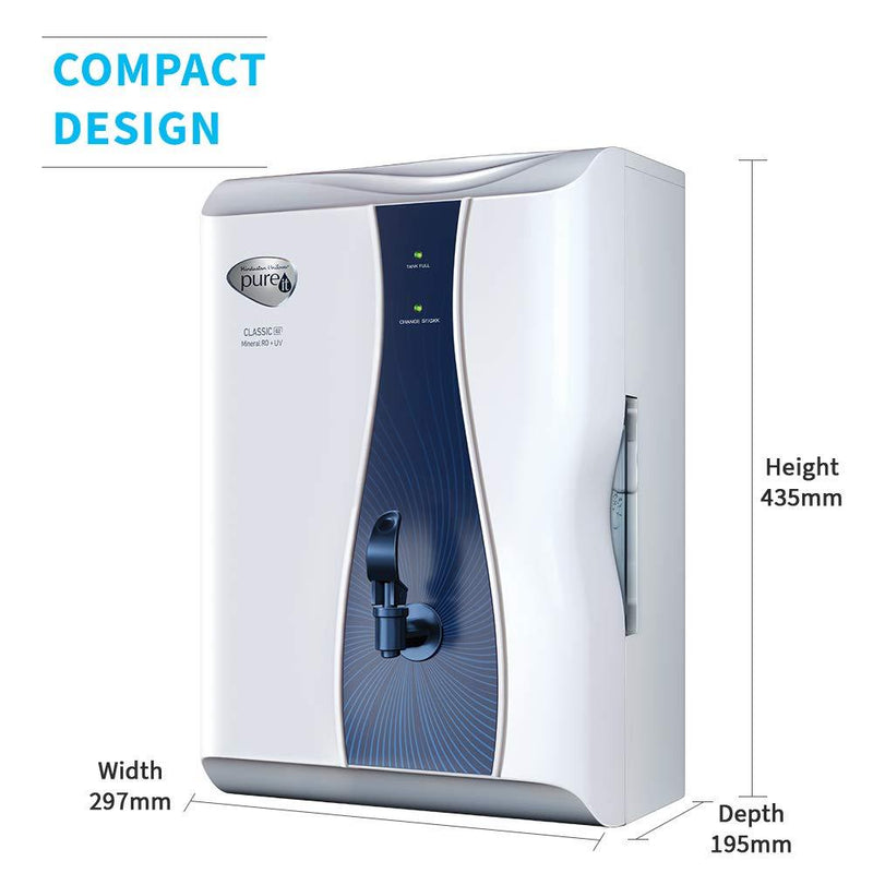 HUL Pureit Classic G2 Mineral RO + UV 6 Stage Table Top/Wall Mountable White & Blue 6 litres Water Purifier - DefenceElectronics