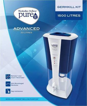 Pureit Advanced Germkill Kit 1500 L Gravity Based Water Purifier  (White) - DefenceElectronics