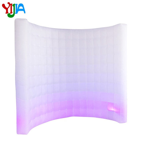 9ft Curve Inflatable Photo booth wall LED Lights color changing  LED wall background for Party Wedding