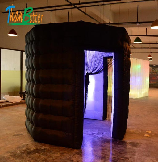 Inflatable black & white photo booth enclosure two door 2-doors