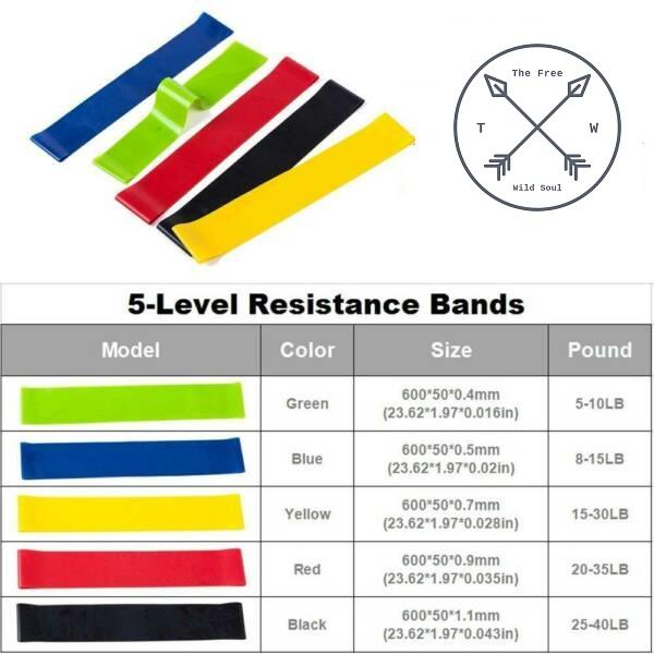 Set 5 Latex Bands and 5 Tubes of Fitness Endurance door anchor - The Free Wild Soul
