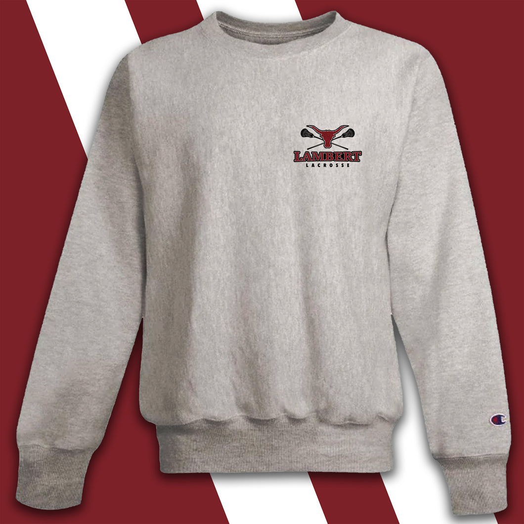 Lambert Girl's Lacrosse Embroidered-logo Champion Crewneck Sweatshirt