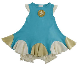 Baby Sand Dollar Dress Set-Blue