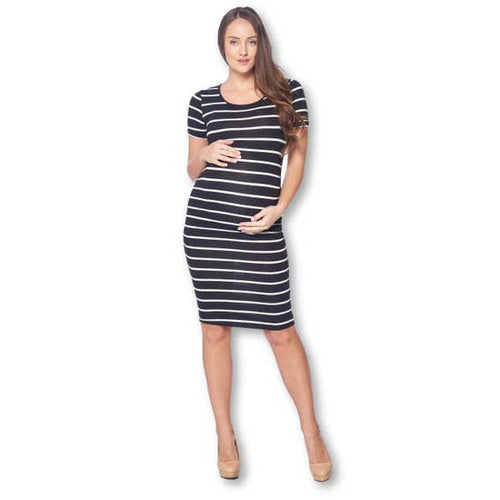Black and White Maternity Bodycon Dress